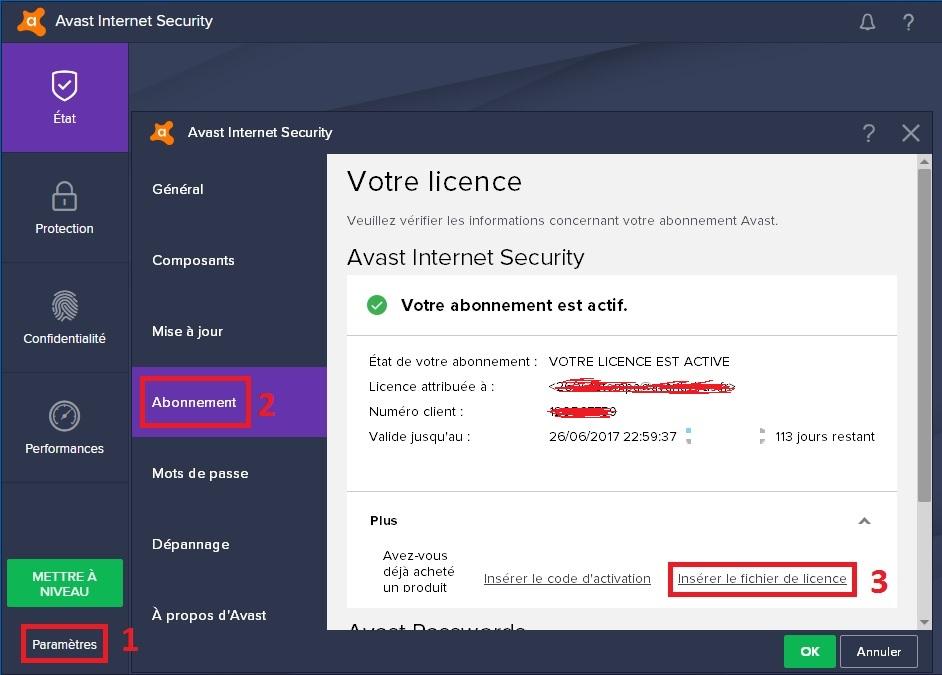 Fichier de licence avast secureline vpn
